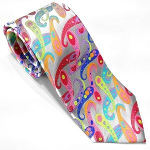 100% Silk Tie by Lawrence Ivey Multi-color Necktie